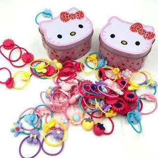 Hello kitty ponytail set with can