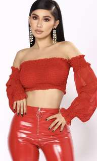 Fashion Nova - Red Crop Top with sleeves