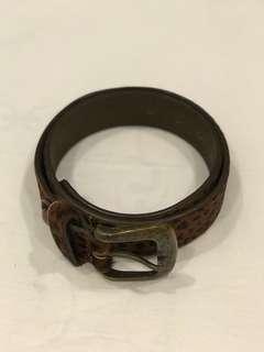 Mango leopard print pony hair & leather belt