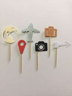 Travel theme Cupcake toppers