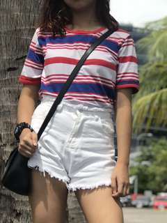 F21 High waisted shorts and Vintage Stripe tee