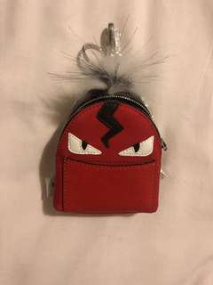 Fendi Backpack keychain with  mink and nylon.