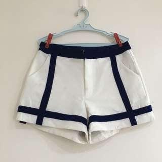 Highwaist shorts w/velvet blue stripes