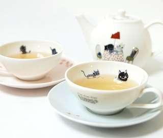 日本品牌-CatCatCat-咖啡杯/茶杯+咖啡杯盤/茶杯盤組-插畫貓咪/白貓/黑貓-預購/禮物