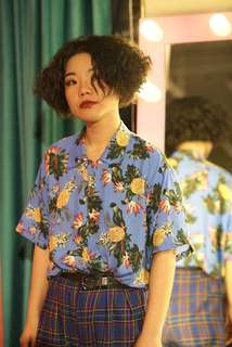 (PO)female pineapple floral hype island Vintage Shirt top