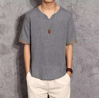 Casual Linen Men Blouse (Short Sleeve)