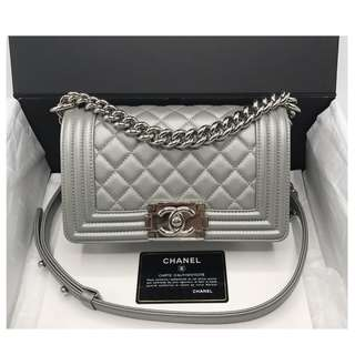 Authentic Chanel Small Boy Silver