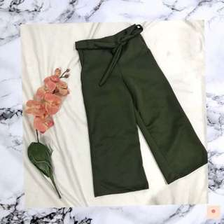 Olive Green Tie Culottes
