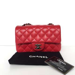 Authentic Chanel Classic Mini Rectangle Flap Bag Red Caviar