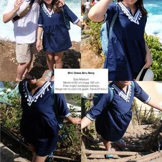 mini dress blue biru navy