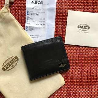 Dompet Fossil Black Wallet For Men Original Still Like New