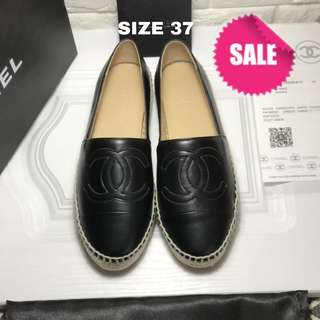 BNEW Chanel Leather Espadrilles 37