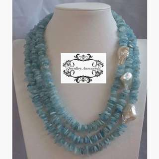 Multistrand Lustrous Genuine Baroque Pearls Aquamarine Crystals Necklace 多層光亮真巴洛克珍珠海藍寶石水晶項鍊