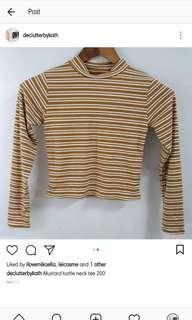 Mustard Tneck stripes tee