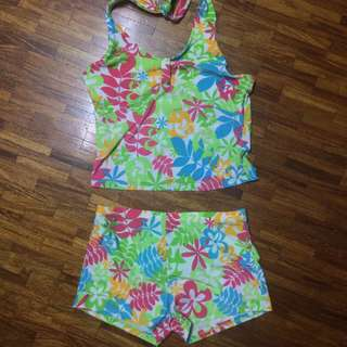 green floral halter swimsuit