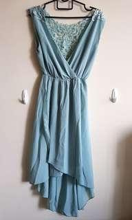 Green Chiffon Mullet Dress