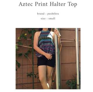 Aztec Print Halter Top