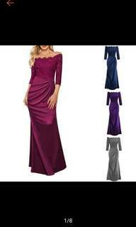 Women Long Formal Evening Bridesmaid Gowns Party Lace Dress (Ships in 5-12days)