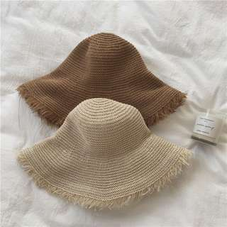 夏天渡假感抽鬚邊草帽