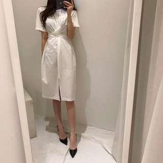 韓國夏季chic風複古簡約氣質綁帶連衣裙女中長款棉麻短袖開叉裙子
