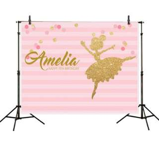 Happy Birthday Pink Theme Customisable Photobooth Backdrop
