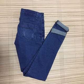 Navy Blue Denim Pants