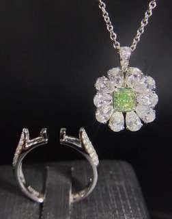 驚艷綠鑽花語18k白金鑽石戒指吊墜頸鏈💍收藏的典藏彩鑽生日禮物全新