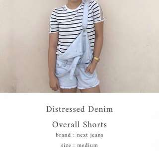 Denim Distressed Overall Shorts