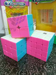 Paket Rubik 2x2,3x3,4x4 Stickerless Pink