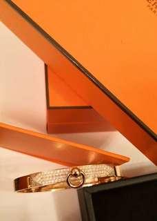 全新Hermes CDC Bracelet半鑽玫瑰金