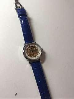 AILANG 藍色皮機械錶(女)