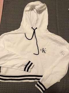 Calvin Klein White Cropped Hoodie