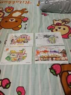 Macau stamp 澳門郵票小型張 媽閣廟 澳門門樓 幸運數字 小販的生活方式 連郵票共四張