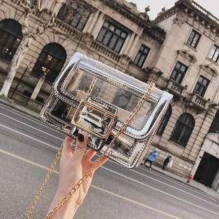 [PO] Silver Transparent Sling Bag