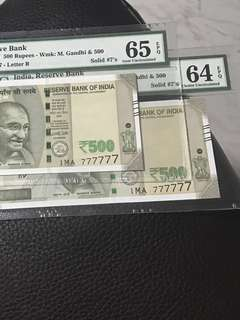 (777777) Pmg EPQ Solid Number new 500 Rupees  Indian Notes