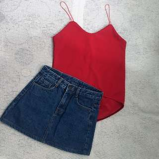 BOTH FOR 300!!! X-SMALL DENIM SKIRT & SMALL RED SPAGHETTI TOP