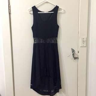 Topshop Black Lace Midriff Midi Party Dress