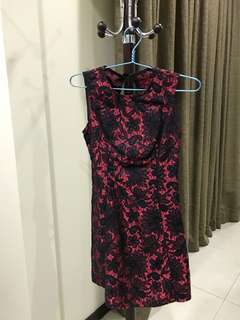 Red black lace dress