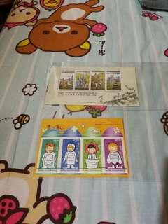 Hong Kong stamp 香港郵票小型張山頂纜車百年紀念畫出童心共兩張有黃