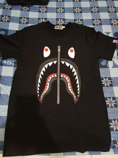 Bape Tee Shark Black and Galaxy Mirror + Plastic Bag