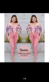 off shoulders floral pink terno