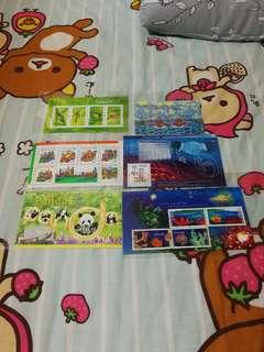 Hongkongpost m香港郵政郵票小型張小全張 香港昆蟲 香港新加坡 大熊貓在香港 澳洲 香港郵政核證機關 珊瑚 共六張