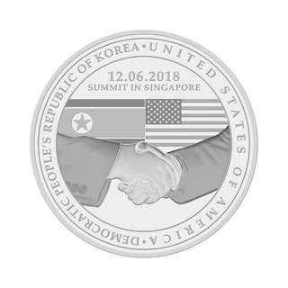 預購「特金會」紀念幣(鋅鍍鎳)2018              20 GRAM UNITED STATES - NORTH KOREA SUMMIT NICKEL PLATED MEDALLION (Pre Order)