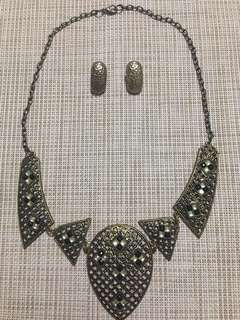 Bronze Earrings and Necklace Set