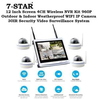 "7-STAR* Wireless Plug&Play 4/8 Channel NVR Kit Set with 4/8 Weatherproof IP66 HD indoor/outdoor Dome or Bullet CCTV IP Camera+Build in 12""inch LED Display Screen"