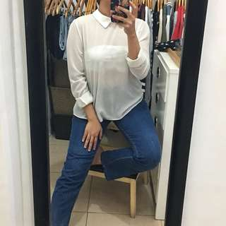 Unbranded collared chiffon top