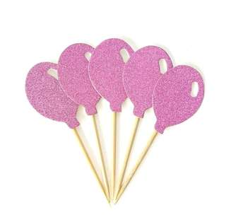 🎈Pink Glitter Balloons Birthday Cake Cupcake Toppers Topper Decoration Party Bunting Happy Balloons