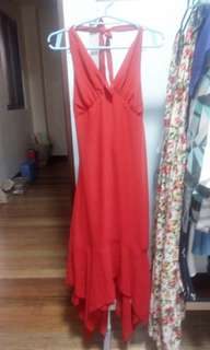 Bright red backless dress