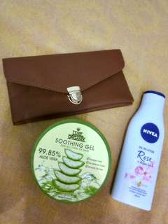 Wallet, aloe vera gel, nivea oil lotion bundle