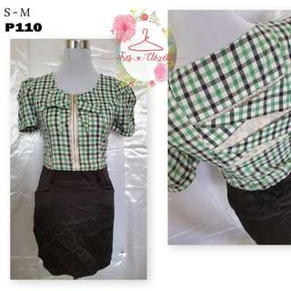 Green Checkered Dress (Ukay Item)